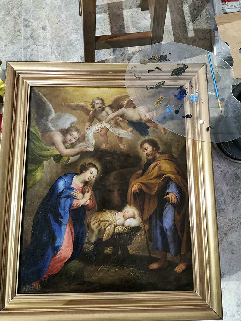 a pro-bono project restoring oil paintings held in the community church & convent art collection