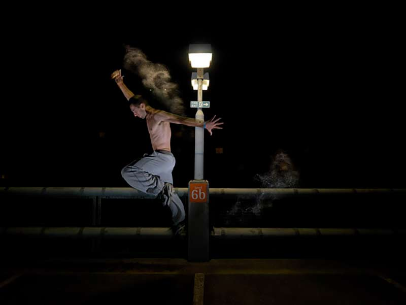 Particle Parkour Muscle Act - a photographic series as the artist explores this explosive sport