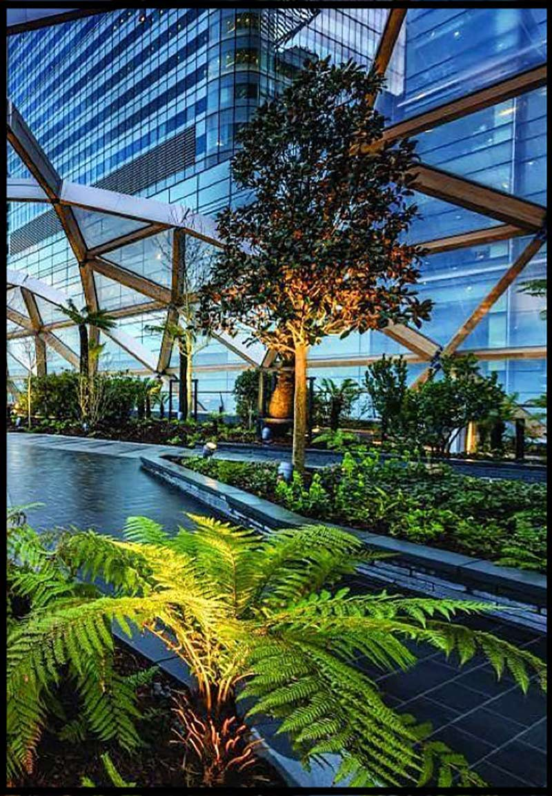 exhibition at Canary Wharf Crossrail Roof Gardens designed by renowned architect Norman Foster