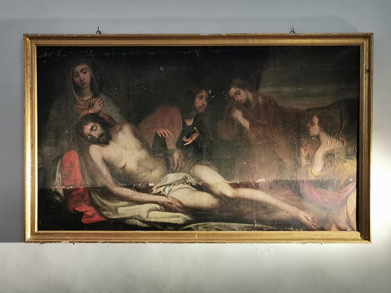 Restoring a large oil painting by a disciple of Francisco de Goya